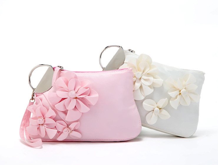 Sweet Cute Women Handbags Pu Leather Flower Clutch Lady Elegant Evening Bags Multifunctional Cosmetic Bag Portable